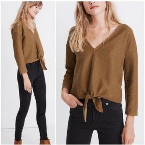 Madewell Texture & Thread V Neck Long Sleeve Tie Front Top Olive Green Brown